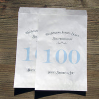 100th Birthday Favor Bags Blue