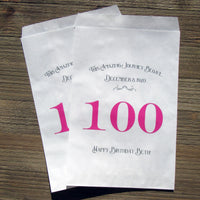 100th Birthday Favor Bags Fuchsia