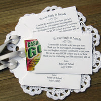 Lottery ticket envelopes for 25th Wedding Anniversary Favors