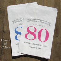 Our personalized 80th birthday favor bags for adult birthday favors
