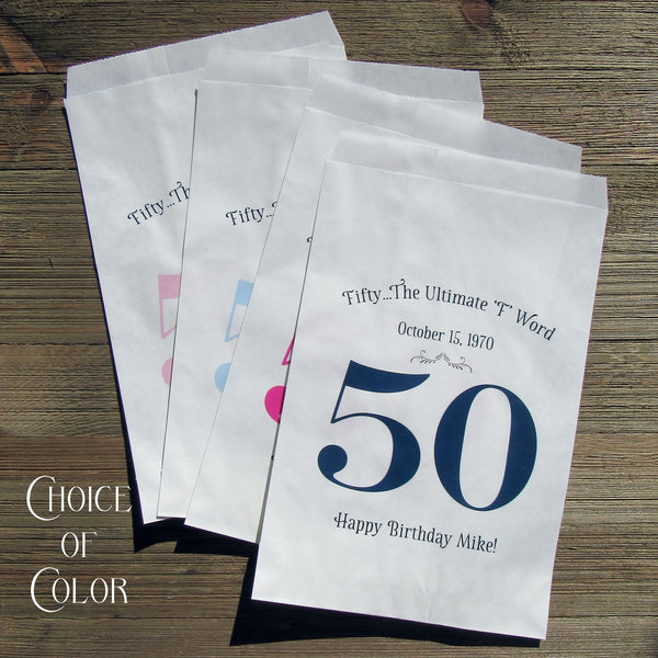 Our adorable 50th Birthday favor bags are perfect for candy, cookies, pretzels
