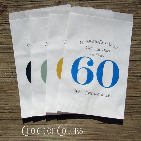 Our adorable 60th Birthday party favor bags are personalized with color choices.