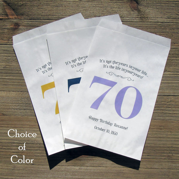 Our elegant 70th birthday favor bags personalized for adult birthday favors