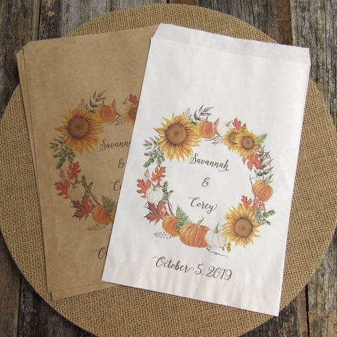 Fall Wedding Favor Bags
