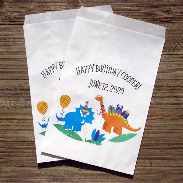 dinosaur birthday favor bags, personalized
