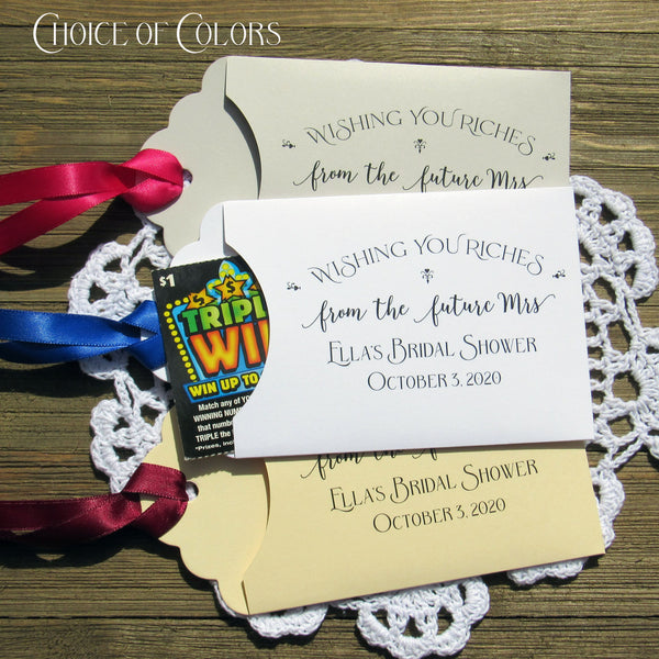 Unique bridal shower favors, a wonderful way to thank your guests, give them a chance to win big! These fun bridal shower favors ' wishing you riches from the future Mrs.' personalized bridal shower favors for your special day