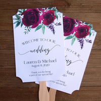 Burgundy Wedding Fans