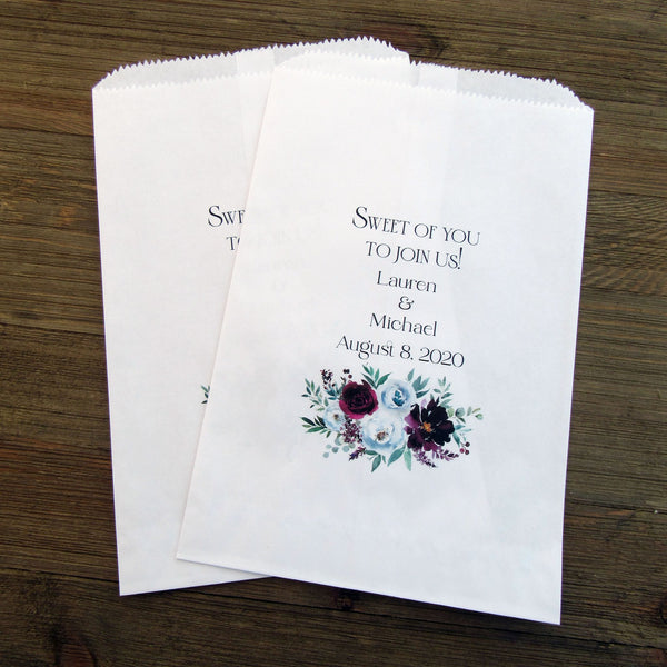 Burgundy Wedding Favor Bags