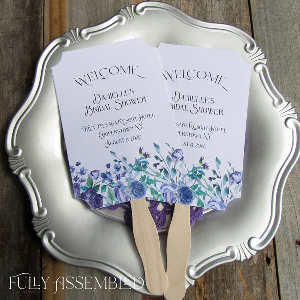 Bridal Shower Fans with purple flowers, personalized hand fans for your guest favors, the perfect keepsake.