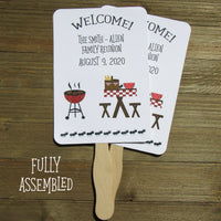 Something fun for your next family reunion! Our family reunion favor fans are a perfect keepsake for family members to take home. Plus these hand fans will keep everyone cool on a hot summer day. Our family reunion favors are constructed out of white card stock, two sided, printing on one side, with handle sandwiched between.