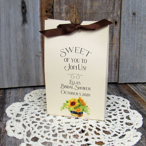 sunflower favors, sunflower bridal shower, sunflower party favors, bridal shower favors, sunflower favor boxes, favor boxes, candy boxes,