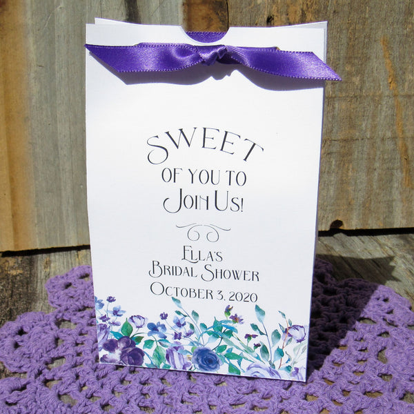 Bridal shower favors, these are perfect bridal shower favor boxes for sweet treats, our bridal shower favors are adorned with purple flowers and purple ribbon.