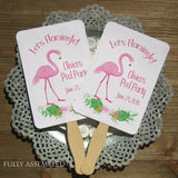 How cute are these Flamingo Fans! Such a nice keepsake for party guests to take home from your birthday party. Our pink flamingo fans are constructed out of white card stock, two sided, printing on one side, with handle sandwiched between