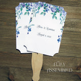 Purple Floral Wedding Fans