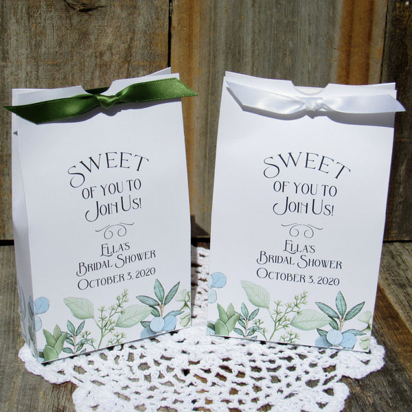 bridal shower guest favors with greenery