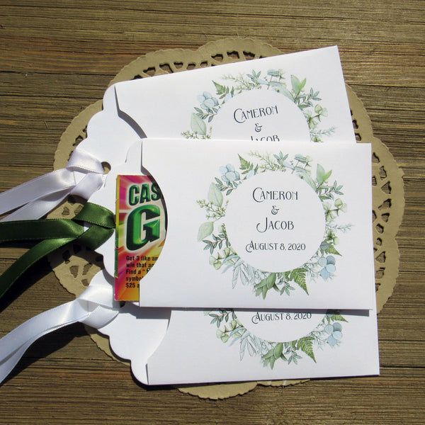 Greenery wedding favors, our lottery ticket holders
