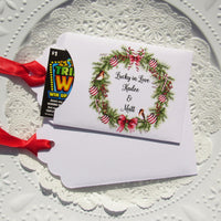 Christmas wedding favors, lottery ticket holders