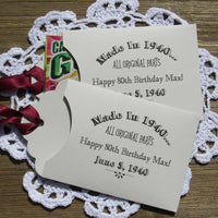 Party favors for adult birthday are personalized for the guest of honor.