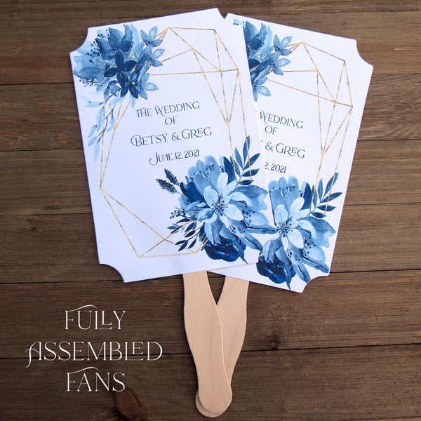 Blue Wedding Fans