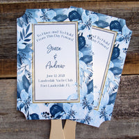 Navy Blue Wedding Fans