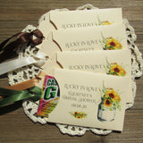 These are perfect for a sunflower bridal shower! Our bridal shower lotto favors are personalized for the brides special day. Slide a scratch off lotto ticket in to see who wins big. Sunflower bridal shower favors, printed on ivory card stock with your choice of ribbon color.