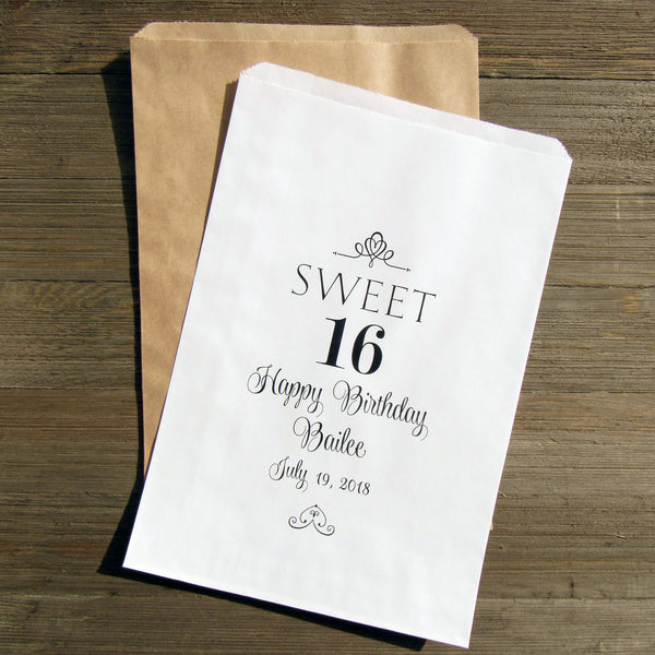 The kids will fall in love with these sweet 16 favor bags! Perfect for your sweet 16 birthday these can be filled with candy, cookies, pretzels, popcorn or a take home goodie bag.