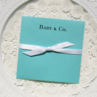Eye catching and elegant, the distinctive design of these lovely Tiffany Blue Baby Shower favors