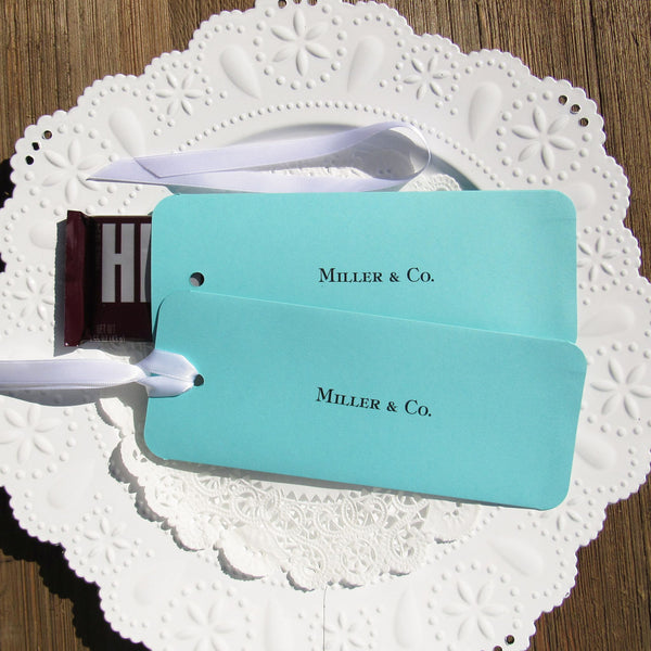 So sweet are these Tiffany Blue candy bar favors