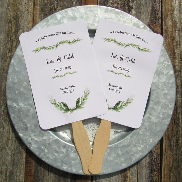 Green wedding favor fans, personalized fans for the bride and groom.