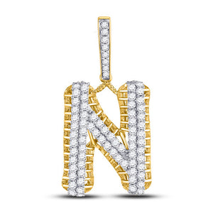 10k Yellow Gold Round Diamond Letter N Charm Pendant 1-1/2 Cttw