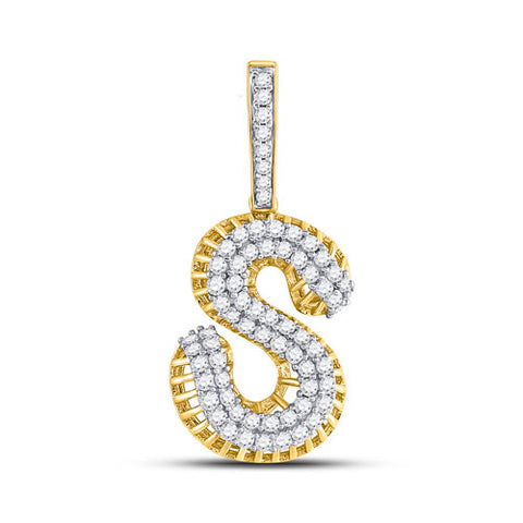 10k Yellow Gold Round Diamond Letter S Charm Pendant 1-1/3 Cttw