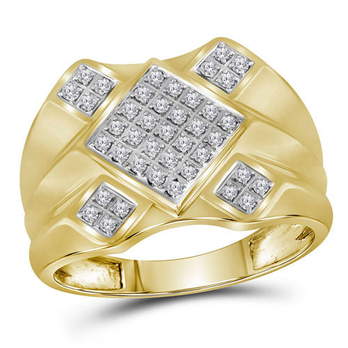 10k Yellow Gold Round Diamond Diagonal Square Cluster Ring 1/3 Cttw