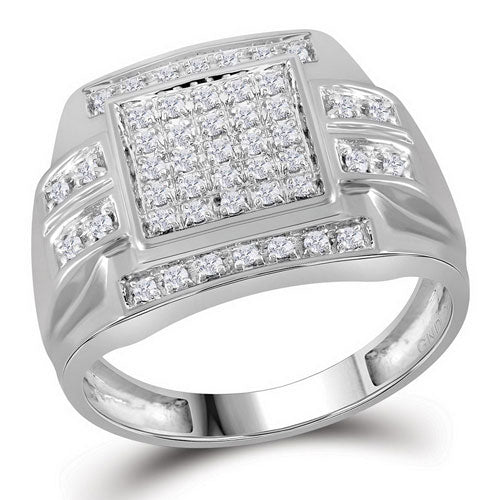 10k White Gold Round Diamond Square Cluster Ring 1/3 Cttw