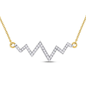 10k Yellow Gold Round Diamond Heartbeat Pendant Necklace 1/4 Cttw