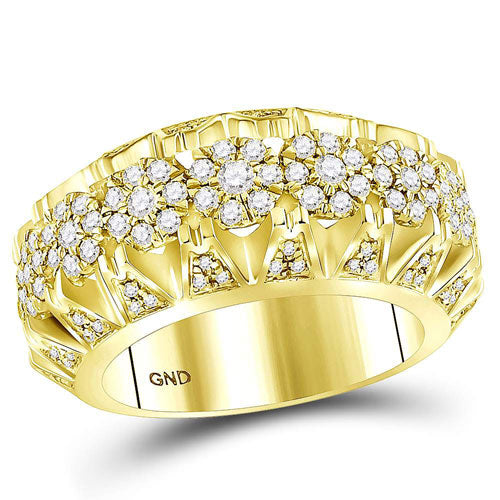 14k Yellow Gold Round Diamond Cluster Luxury Band Ring 1-1/2 Cttw