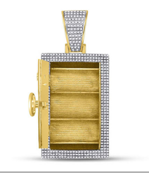 10k Yellow Gold Round Diamond Bank Safe Vault Charm Pendant 1-1/3 Cttw