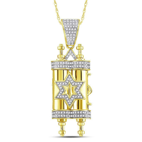 10kt Yellow Gold Round Diamond Torah Magen David Scroll Charm Pendant 3/8 Cttw