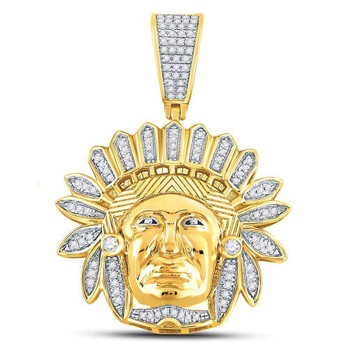 10k Yellow Gold Round Diamond Native American Indian Chief Charm Pendant