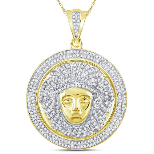 10k Yellow Gold Diamond Gorgon Medusa Circle Medallion Charm Pendant 1 Cttw