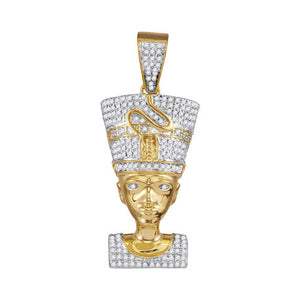 10k Yellow Gold Round Diamond Nefertiti Pharaoh Charm Pendant 5/8 Cttw