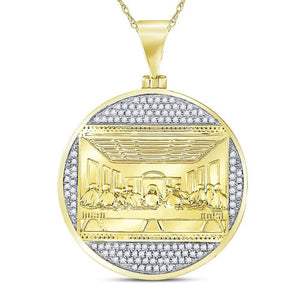 10k Yellow Gold Round Diamond Last Supper Religious Charm Pendant 1/2 Cttw