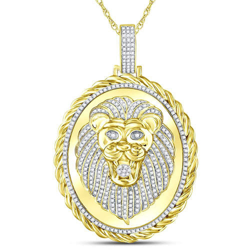 10kt Yellow Gold Round Diamond Oval Lion Face Rope Charm Pendant 1.00 Cttw