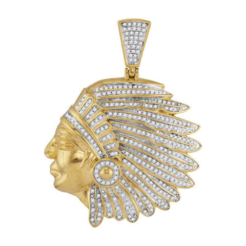 10k Yellow Gold Diamond Indian Chief Charm Pendant 1-1/6 Cttw