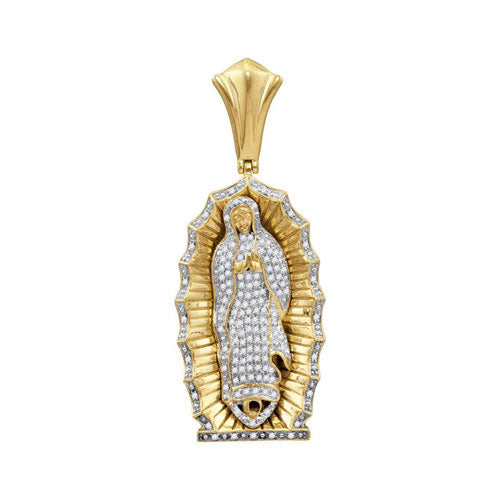 10k Yellow Gold Round Diamond Guadalupe Mary Charm Pendant 1 Cttw