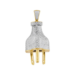 10kt Yellow Gold Mens Diamond Power Plug Charm Pendant 1.00 Cttw
