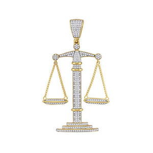 10k Yellow Gold Round Diamond Scales of Justice Charm Pendant 1 Cttw