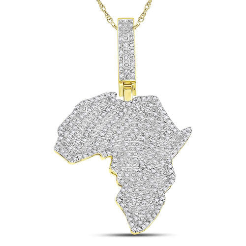 10kt Yellow Gold Round Diamond Africa Continent Charm Pendant 5/8 Cttw