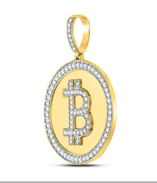 10k Yellow Gold Round Diamond Bitcoin Circle Charm Pendant 7/8 Cttw