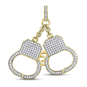 10k Yellow Gold Round Diamond Handcuff Charm Pendant 1-1/4 Cttw
