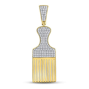 10kt Yellow Gold Round Diamond Afro Hair Pick Charm Pendant 1/2 Cttw